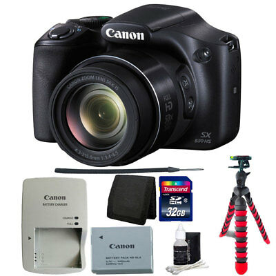 Canon PowerShot SX530 HS 16MP 50x Zoom Wi-Fi Digital Camera Black + 32GB Bundle