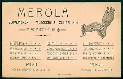 1905 Merola Glovemaker Advertising Business Card - Venice,Italy