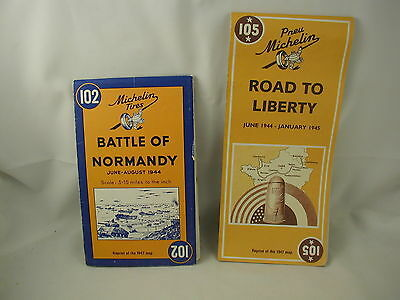 2 World War II Maps Battle of Normandy Road to Liberty English French Text