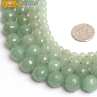 """Natural Stone Faceted Green Aventurine Beads For Jewelry Making 15"""" Wholesale"""