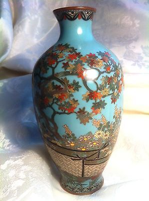 """Antique Japanese Cloisonne , Flowers, Maple tree and Birds ,  6"""", Silver Wire"""