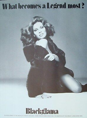BLACKGLAMA RAQUEL WELCH Vintage 1975 advertising poster MINK FUR COAT AVEDON NM
