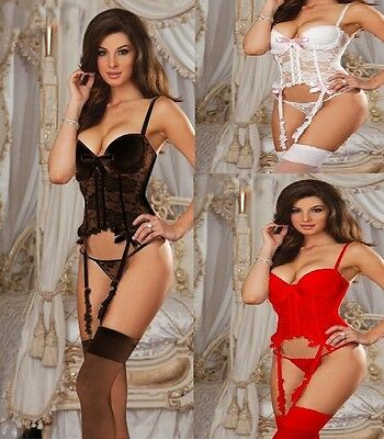 Sexy Lingerie Corset Lace  Bustier + G string bridal wedding honeymoon