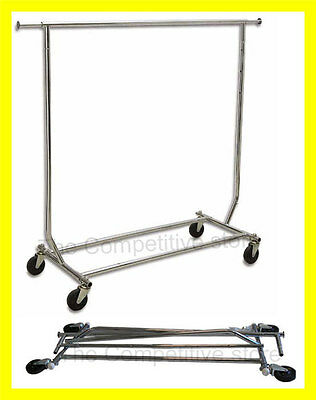 Chrome Heavy Duty Commercial Grade Clothing Garment Rolling Collapsible Rack NEW