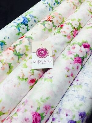"""Vintage floral shabby Chic Printed Fabric 100% Cotton Poplin 44"""" Wide M530 Mtex"""