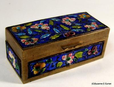 Antique Chinese Enamel & Brass Floral Stamp Box