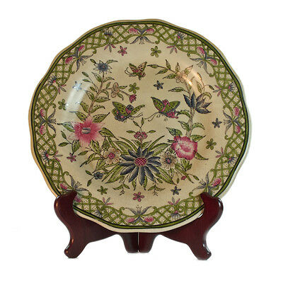Vintage Country Style Porcelain Green & Pink Plate w butterfly & Flowers  27.5cm