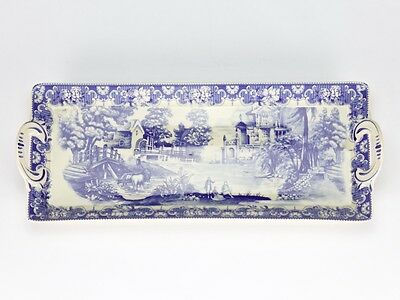 Antique vintage style Blue White willow Platter plate cake high tea  35cm/14""
