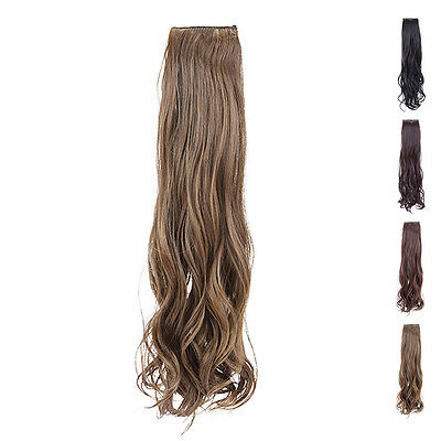 Natural Girl Long Curly Ponytail Hair Extension Ladies Hairpiece 2 Clip Wigs