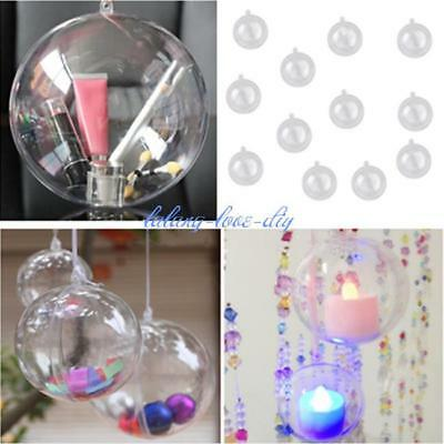 12 Ball Clear Christmas XMAS Baubles Fillable Xmas Tree Decoration Ornaments J