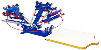 Screen Printing Table Press Printer 4 Color 1 Station DIY 360 degree Rotate