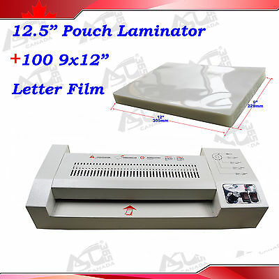 12.5In Metal Hot Cold 4Rolls Thermal Pouch Laminating Laminator +100 Letter Film