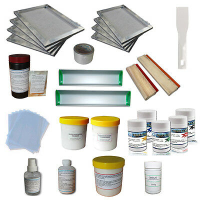 Stretched frame & Pigment supplies kitscreen printing emulsion coater squeegee