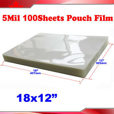 "100 PK 5Mil 12x18"" Large Size PVC 2Flap Thermal Laminating Pouch Film Laminator"