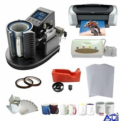 Pneumatic Sublimation Mug Heat Press Machine Printer CISS Tape A4 Paper Business