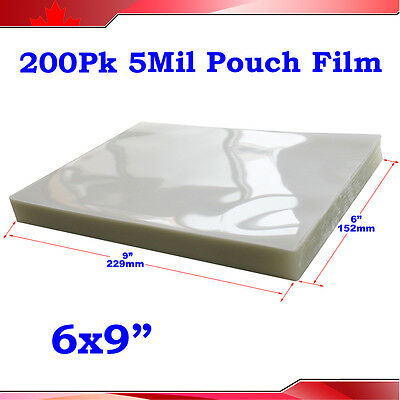 "200pk 5Mil 6x9"" PVC 2Flap Glossy Thermal Hot Laminating Pouch Film Laminator"