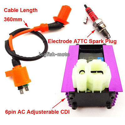 Adjusterable CDI Ignition Coil Spark Plug For 50cc 125cc 150cc Scooter Moped ATV