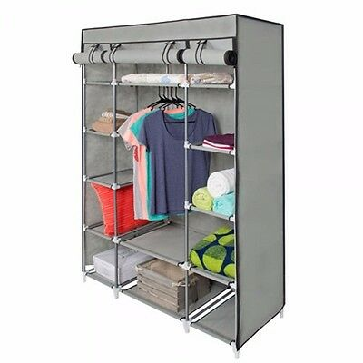 5-Layer Portable Closet Wardrobe Clothes Rack Storage Organizer With Shelf Grey