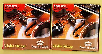 2 SETS of New, 4/4 size, Silver Wound, Ball End, Steel, Violin Strings