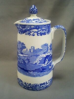 Vintage 1930 Copeland Spode Pottery Italian Pattern Blue & White Coffee Pot