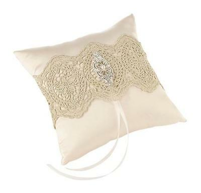Gold Lace Ivory Satin Diamanté & Pearl Wedding Day Ring Cushion Pillow