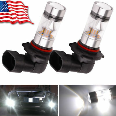 2x 9005 HB3 6000K 100W  2323 LED  Projector Fog Driving DRL Light Bulbs White