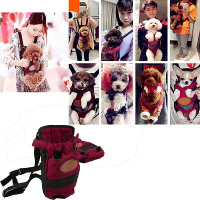 Pet Dog Puppy Backpack Carrier Bag Front Net Double Shoulder Sling Tote Pouch #2