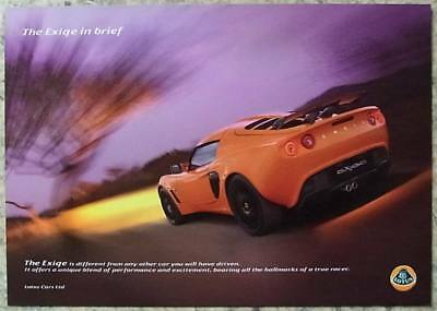 LOTUS EXIGE & EXIGE S Sports Car Sales Specification Sheet 2007