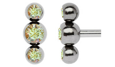 Piercing Screw Clasp for 1,6mm Thread Three of a kind with three Zirconia balls