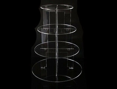 TK 4 Tier Circle Clear Acrylic Cupcake Party Wedding Cake Display Tower Stand