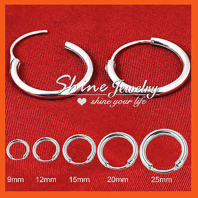 Sterling Silver Men Lady Kid Hoop Huggie Sleeper Earrings Gift Nose Ear Piercing