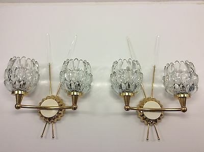 Nice large wall lamp sconces pair gold and glass french c1950 mid century