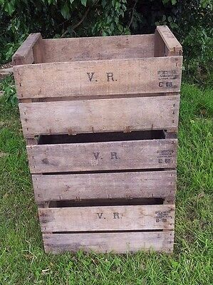 6X Vintage French Vr Wooden Farm Apple Pear Crate Bushel Box Book Shelf Racking.