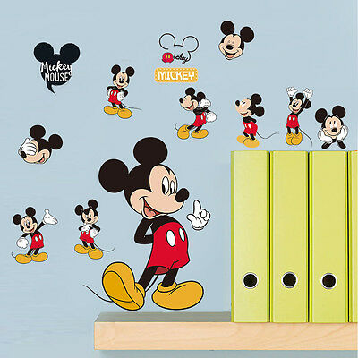 Mickey Mouse Logo Wall Stickers Removable Decals Kids Boy Girl Nursery Decor
