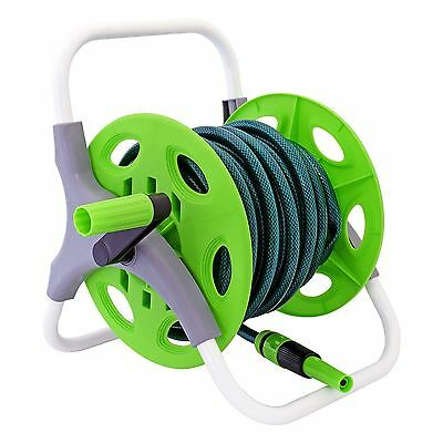 Outdoor Garden Watering Reinforced Tough Complete 15m Hose Pipe Reel Set Kit New