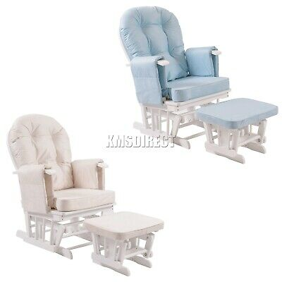 FoxHunter Nursing Glider Maternity Rocking Chair With Stool White Wood Frame New
