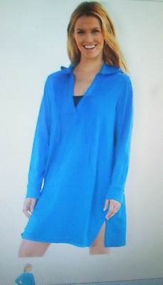 37e199b707 NEW WOMENS WHITE LANDS END Hooded Beach Pool Dress Cover Up Large 14 ...