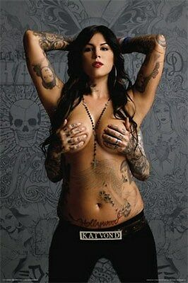 KAT VON D TOPLESS POSTER - SEXY HOT NEW 24x36 PRINT IMAGE PHOTO