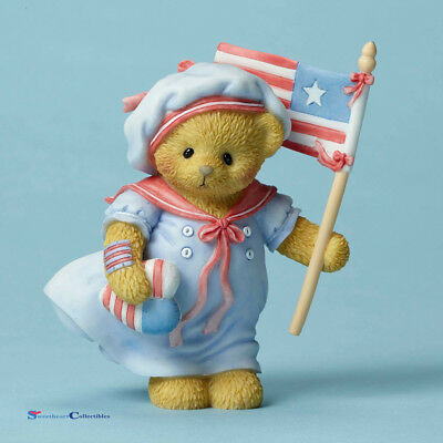 Cherished Teddies 4051519 Bettie Bear Holding Flag New 2016 Patriotic
