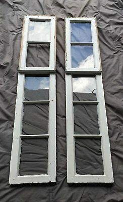 Pair Antique Sidelight Vintage Old Window Shabby Cottage Chic 1014-16