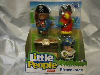 Fisher Price Little People Pirate Pack Treasure Chest Parrot Swashbucklers New
