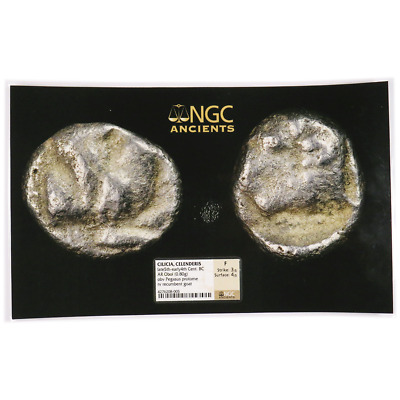 5th-4th Centuries BC Cilicia Celenderis AR Obol PHOTO GRADE NGC F