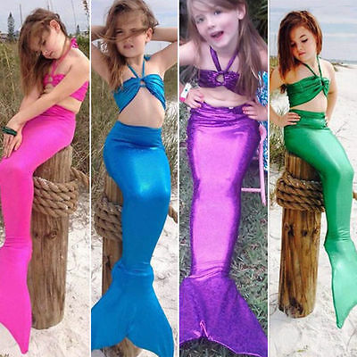 Girls Swimmable Mermaid Tail Monofin Bikini Swimsuit Swimwear Costume 3PCS Set