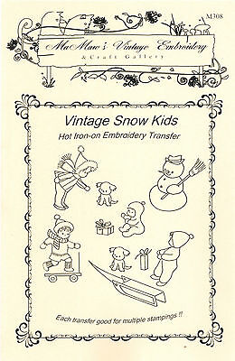 M308 Christmas Snow Kids Holiday Embroidery hot iron-on transfers 17+ images