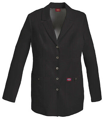 """Scrubs Dickies 28"""" Xtreme Stretch Snap Front Lab Coat 82400 Black  FREE SHIPPING"""