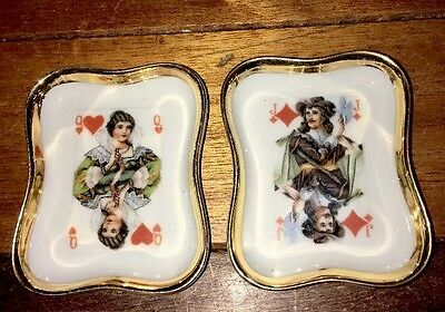 Vintage Limoges France Set Of 2 Decorative Square Plates Playing Cards