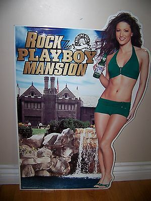 Rolling Rock Beer ROCK THE PLAYBOY MANSION tin sign 2004 with lady in bikini