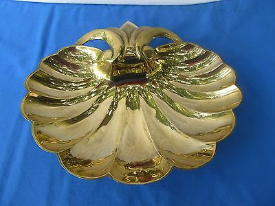Vintage Large Brass Shell Trinket Dish,Tray Footed