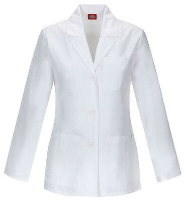 Scrubs Dickies Womens Antimicrobial 28''Lab Coat White 84401A WHWZ FREE SHIPPING