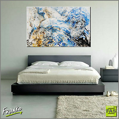 BLUE ORIGINAL ABSTRACT TEXTURE PAINTING CANVAS 160cm x 100cm Franko Australia